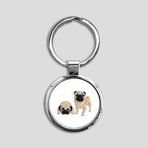 Pugs Round Keychain