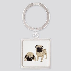 Pugs Square Keychain