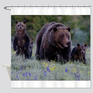 MAMMA GRIZZLY and 3 CUBS Shower Curtain