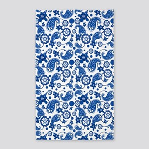 Dazzling Blue Paisley Pattern 3'x5' Area Rug