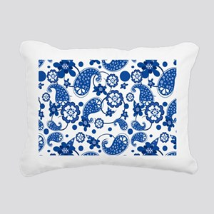 Dazzling Blue Paisley Pattern Rectangular Canvas P