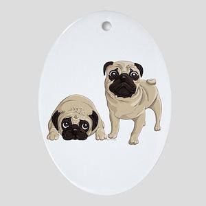 Pugs Ornament (Oval)