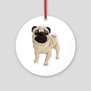 Pug Ornament (Round)