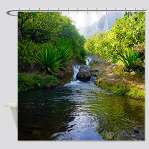Pool in Paradise Hawaii Tropical Shower Curtain