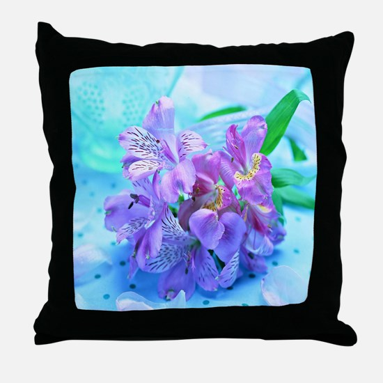 Orchid Flowers Floral Throw Pillow