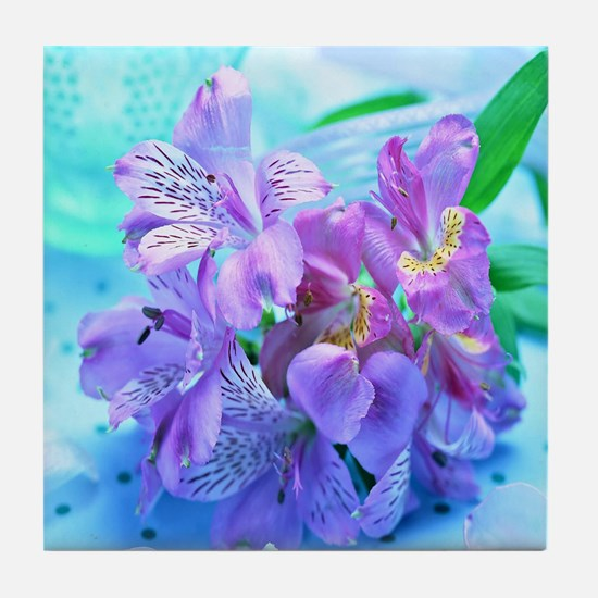 Orchid Flowers Floral Tile Coaster