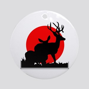 Drop tine buck skull Ornament (Round)