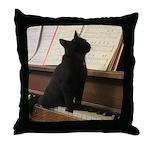 Piano Kitty Throw Pillow