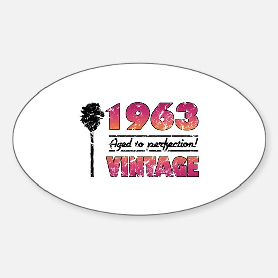 1963 Vintage (Palm Tree) Sticker (Oval)