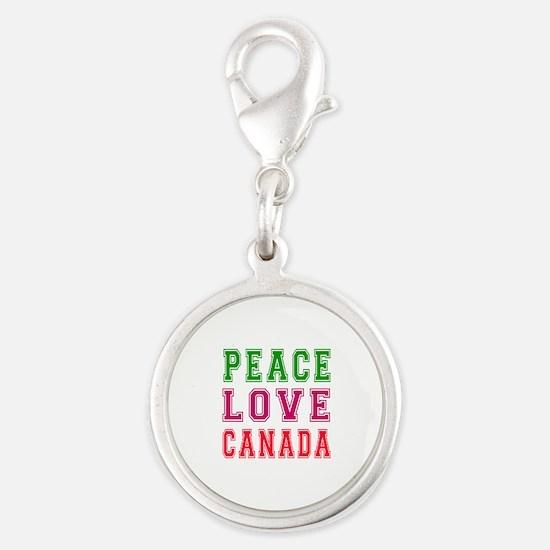 Peace Love Canada Silver Round Charm