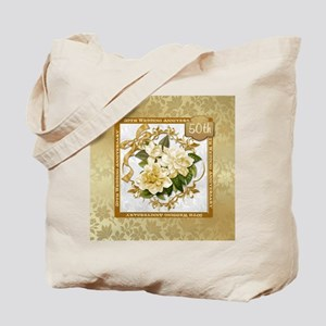 Floral Gold 50th Wedding Anniversary Tote Bag
