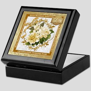 Floral Gold 50th Wedding Anniversary Keepsake Box