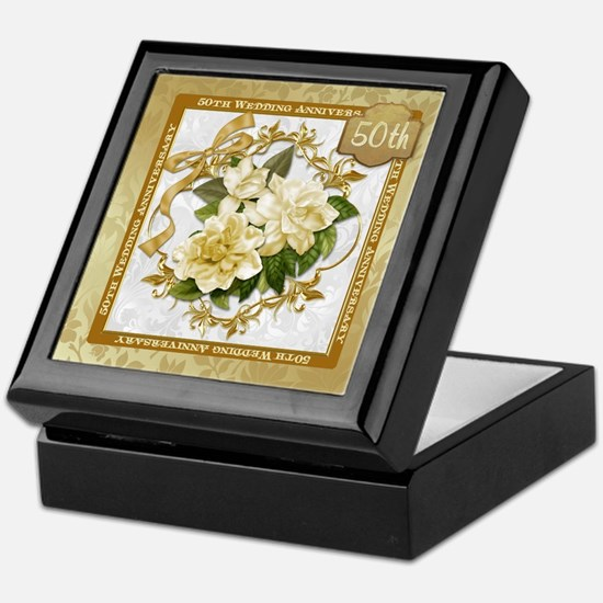 Floral Gold 50th Wedding Anniversary Keepsake Box