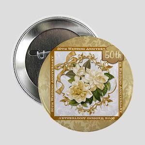 "Floral Gold 50th Wedding Anniversary 2.25"" Bu"