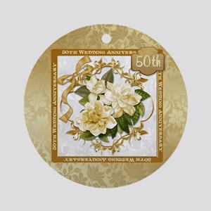 Floral Gold 50th Wedding Anniversa Round Ornament