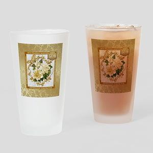 Floral Gold 50th Wedding Anniversa Drinking Glass