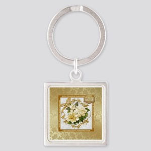Floral Gold 50th Wedding Annivers Square Keychain