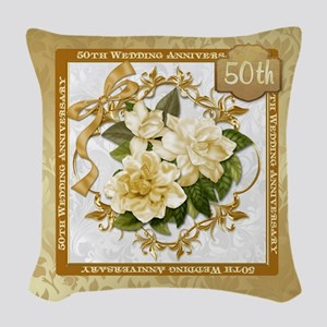 Floral Gold 50th Wedding Anni Woven Throw Pillow