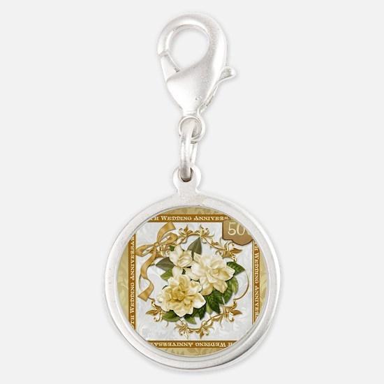 Floral Gold 50th Wedding Anni Silver Round Charm