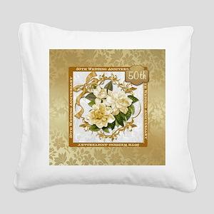 Floral Gold 50th Wedding Ann Square Canvas Pillow