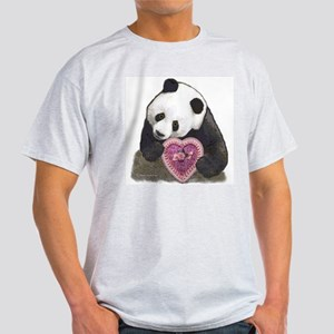"""Panda with a Heart for you"" Ash Grey T-Shirt"