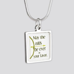 Odds Favor Bow Arrow Silver Square Necklace