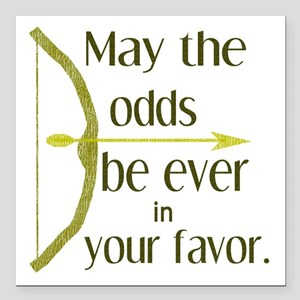 "Odds Favor Bow Arrow Square Car Magnet 3"" x 3"""