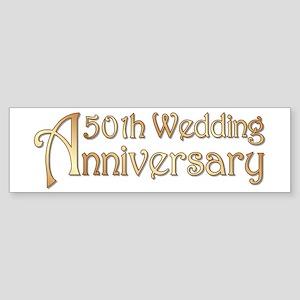 Typography Golden Wedding Anniversary Sticker (Bum