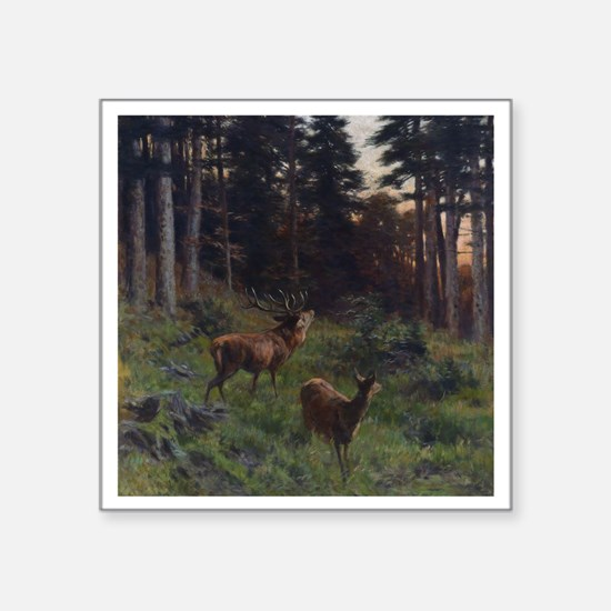 """Deer in Forerst Square Sticker 3"""" x 3"""""""