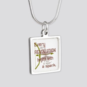 Revolution Spark Bow Arrow Silver Square Necklace
