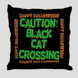 Caution Black Cat Crossing Throw Pillow