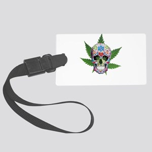 Decorated Skull Pot Leaves Luggage Tag
