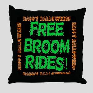 Free Broom Rides Throw Pillow