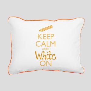Keep Calm and Write On Rectangular Canvas Pillow