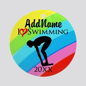 I LOVE SWIMMING Ornament (Round)