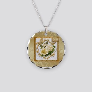 Floral Gold  50th Wedding An Necklace Circle Charm