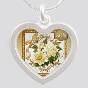 Floral Gold  50th Wedding An Silver Heart Necklace