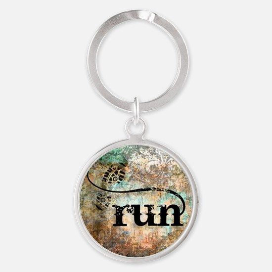 Run by Vetro Designs Round Keychain