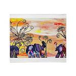 Indian Elephant Parade Throw Blanket