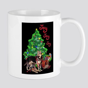 German Shepherd and Christmas Tree Mugs