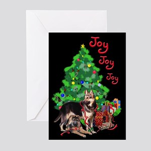 German Shepherd and Christmas Tree Greeting Cards