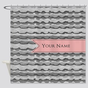 Monogram Pattern And Coral Ribbon Shower Curtain