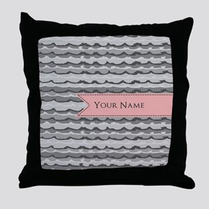 Monogram Pattern And Coral Ribbon Throw Pillow