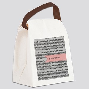 Monogram Pattern And Coral Ribbon Canvas Lunch Bag