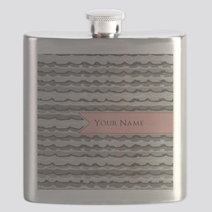 Monogram Pattern And Coral Ribbon Flask