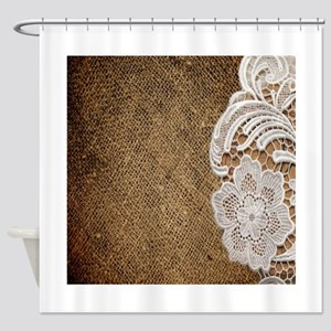burlap lace country chic Shower Curtain