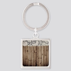 barnwood white lace country Square Keychain