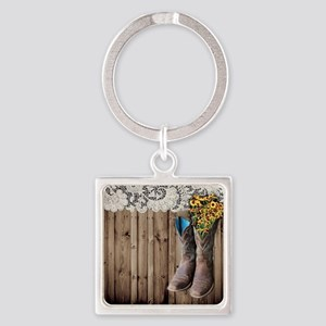 cowboy boots barnwood country Square Keychain