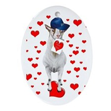Goat I love YOU Valentine Oval Ornament