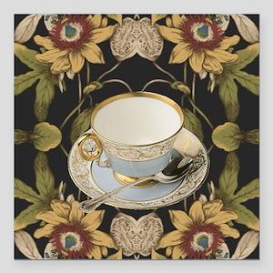 """floral tea cup vintage  Square Car Magnet 3"""" x 3"""""""